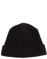 Portolano Merino Cuffed Beanie Hat Black