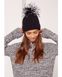 Missguided Ostrich Feather Pom Pom Beanie Black
