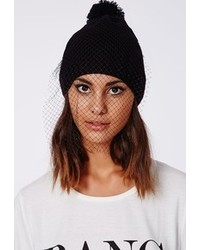 Missguided Tsanna Veil Beanie Hat Black