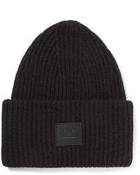 Acne Studios Pansy Appliqud Ribbed Wool Blend Beanie Black