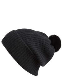 Badgley Mischka Rib Knit Beanie With Genuine Mink Pompom