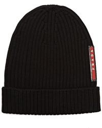 Prada Ribbed Knit Beanie Hat