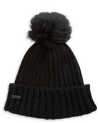 Calvin Klein Ribbed Knit Faux Fur Pompom Beanie