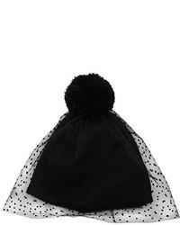 San Diego Hat Company Fine Knit Beanie Hat With Dobby Dot Tulle Veil