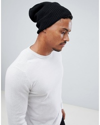 ASOS DESIGN Slouchy Beanie In Black Recycled Polyester