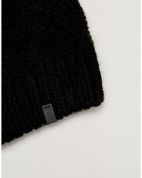 Esprit Slouchy Cable Knit Beanie In Black