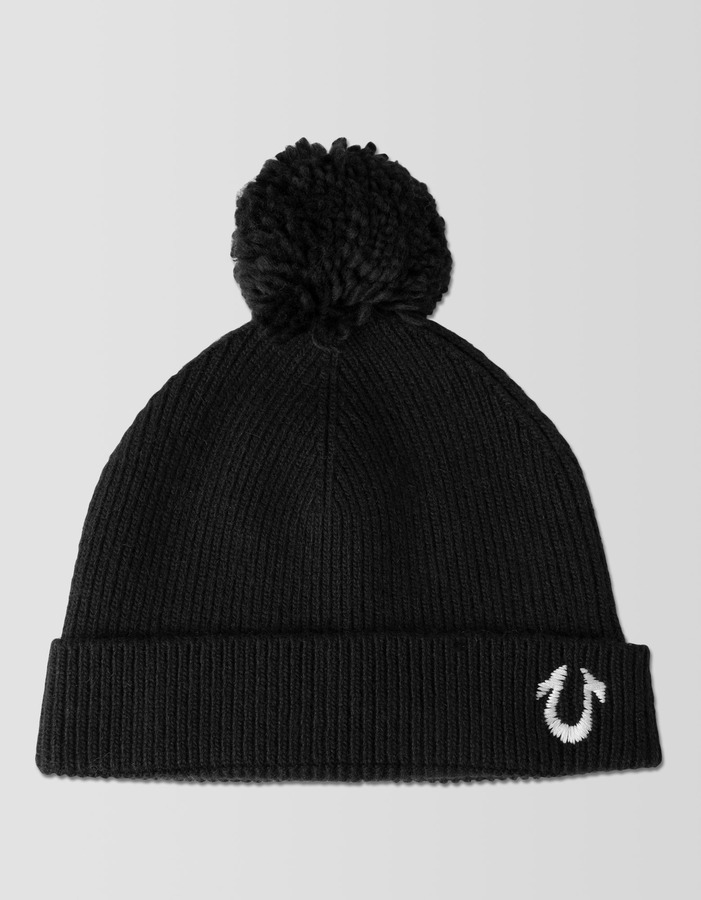 d052a29097 ... Black Beanies True Religion Knit Beanie With Pom ...