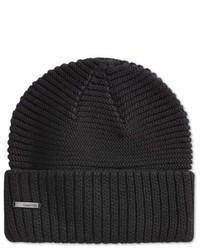 Calvin Klein Unisex Ribbed Cuff Beanie Hat Blk One Size