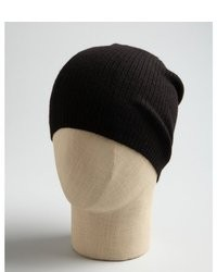 Wyatt Charcoal Ribbed Knit Gathered Cashmere Beanie