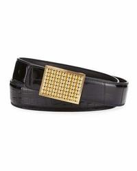 Stefano Ricci Crocodile Buckle Belt Black