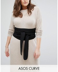 Asos Curve Curve Black Fabric Obi Belt