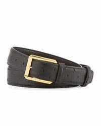 Stefano Ricci Ostrich Golden Buckle Belt Black