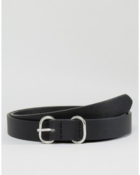 Asos Skinny Black Belt With Circular Buckle Keeper