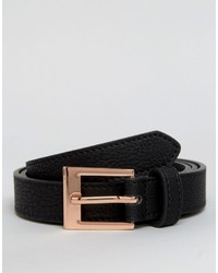 Asos Smart Slim Belt In Black With Rose Gold Buckle