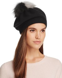 Inverni Beret With Two Tone Fox Fur Pom Pom