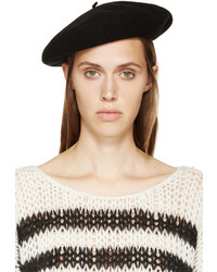 Saint Laurent Black Wool Beret