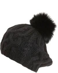 Eugenia Kim Genevieve Genuine Arctic Fox Fur Trim Alpaca Beret Black
