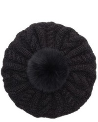 Eugenia Kim Genevieve Genuine Arctic Fox Fur Trim Alpaca Beret Black