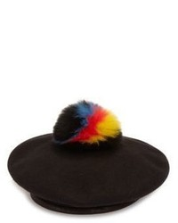Eugenia Kim Hadley Fox Fur Wool Leather Beret