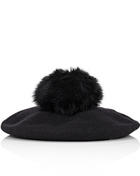 Barneys New York Pom Pom Embellished Wool Beret