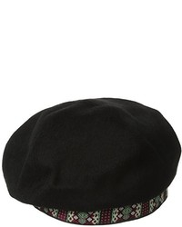 San Diego Hat Company San Diego Hat Wool Beret With Jacquard Band