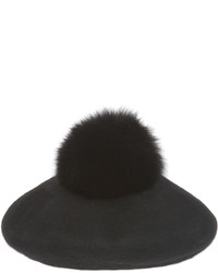 Pologeorgis The Bravo Beret With Fox Pom Pom