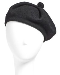 Wool Blend Beret Black
