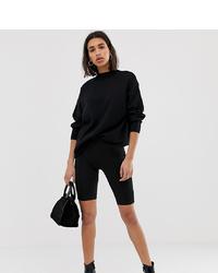 Mango Seam Front Legging Shorts In Black