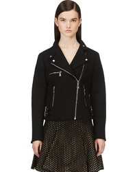 MCQ Alexander Ueen Black Cropped Wool Biker Jacket