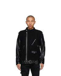 Undercover Black Sacai Edition Down Leather Sleeve Jacket