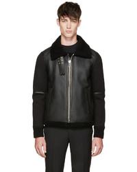 Givenchy Black Shearling Neoprene Biker Jacket