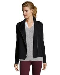 Vince Black Wool Asymmetrical Zip Moto Jacket