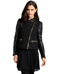 BCBGeneration Black Wool Blend Gold Metallic Flecked Faux Leather Sleeved Moto Jacket