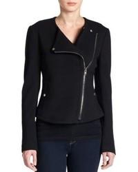 Theory Joean Leather Paneled Knit Moto Jacket