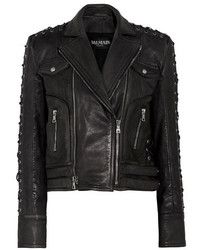 Balmain Lace Up Detailed Textured Leather Biker Jacket Black