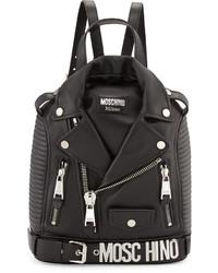 Moschino Lambskin Moto Jacket Backpack Blacksilver