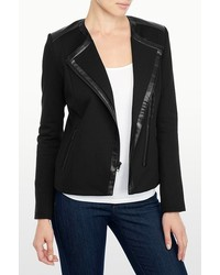 NYDJ Ponte And Faux Leather Moto Jacket