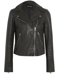 Textured leather biker jacket black medium 3731742