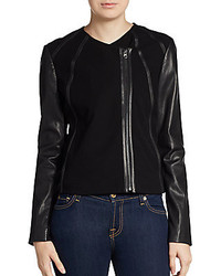 Vince Jersey Paneled Leather Jacket