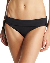Timeless basics fold over swim bottom black medium 688111