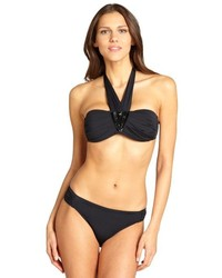 Badgley Mischka Black Nylon Claudia Beaded Bandeau Halter Bikini Top