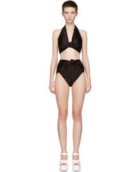 Miu Miu Black Satin Halter Bikini