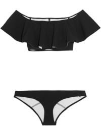 Lisa Marie Fernandez Mira Flounce Bandeau Bikini Black