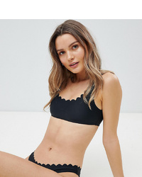 South Beach Mix Match Scallop Edge Crop Bikini Top In Black