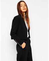 Asos Collection Cropped Twill Blazer With Zips