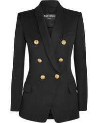 Balmain Double Breasted Wool Blazer Black