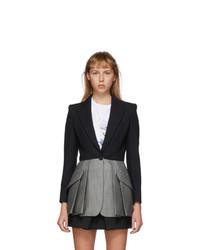Alexander McQueen Black And Grey Colorblock Blazer