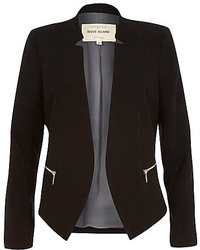 River Island Black Crepe Fitted Notch Collar Jacket
