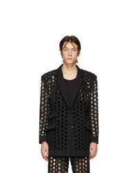 Maison Margiela Black Double Cloth Perforated Blazer