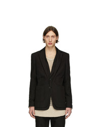 Isabel Benenato Black Double Collar Blazer